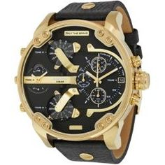 This Diesel mr daddy watch has a statement style while still looking chic MODEL NUMBER Genuine leather strap Embossed strap detail Gold case Black strap Large chronograph dial design Diesel Mr Daddy Watch, Diesel Watch, Chronograph, Black Leather, Black Gold, Watches For Men, Sport, Accessories, Gold Fashion