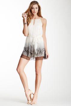 Sheer Ombre Crinkle Dress