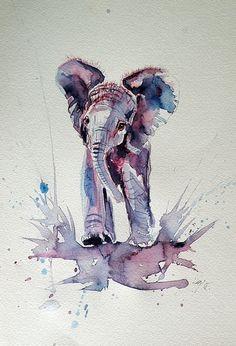 Kovacs Anna Brigitta |  WATERCOLOR | Baby Elephant