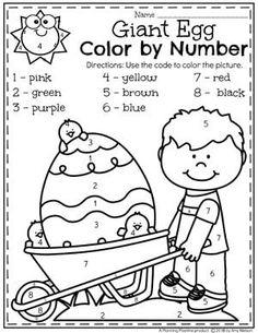 Easter Preschool Worksheets - Color by Number Easter Coloring Page Easter Worksheets, Kindergarten Worksheets, Number Worksheets, Easter Activities For Kids, Preschool Activities, Thanksgiving Activities, Kindergarten Learning, Kids Learning, Learning Spanish