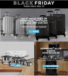 Sears Canada Daily Deals: Save 80% on Samsonite Heys Luggage 75% Off T-FAL Cookware Set 50% on Kenmore Elite ... http://www.lavahotdeals.com/ca/cheap/sears-canada-daily-deals-save-80-samsonite-heys/145031?utm_source=pinterest&utm_medium=rss&utm_campaign=at_lavahotdeals