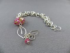 My Garden Sterling Silver Bracelet - Pink Lamp Work Bead Chainmaille Bracelet with Handmade Shaggy Loops Chain and Wire Work Leaf Clasp