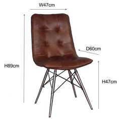 Stylish high quality dining chair! Cerato Brown Leather Dining Chairs with Steel Legs with hand stitched Italian uncorrected leather. Free UK Delivery!