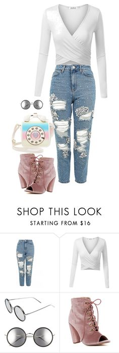 """""""Either this crazy world I'm glad your my girl"""" by kiara-tuggle ❤ liked on Polyvore featuring Topshop, Linda Farrow, Catherine Catherine Malandrino and Betsey Johnson"""
