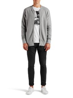 BASEBOLLINSPIRERAD SWEATSHIRT MED DRAGKEDJA, Light Grey Melange, large