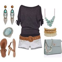Fashion. Gray sweater. Shorts. Mint purse.