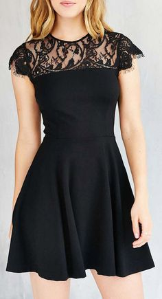BB Dakota Cindy Lace Fit + Flare Dress