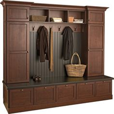 Over 3493 people liked this! Mudroom: Love this locker system with the bench seating, the deep drawers and most of the mess hidden. Mudroom durasupreme (I wish I had a mud room. Muebles Living, Entryway Storage, Locker Storage, Home Organization, Organizing, Home Projects, Decoration, House Styles, Home Decor