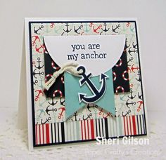 Non-traditional Valentine Card Designed by Sheri Gilson using Ahoy There 6x6 Pad (Carta Bella), Float My Boat Stamp Set (Lawn Fawn), Float My Boat Coordinating die set (Lawn Fawn), Circle Nestabilities (Spellbinders), Scor-Buddy, and ATG Tape. All available at iheartpapers.com