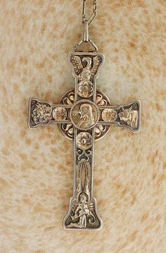 Ornate Alexis Falize Cross - Antique 18k Gold and Silver Cross