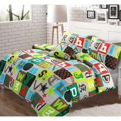ABC Alphabet 100% Cotton Multi Colour Duvet and Pillow Case Reversible Set