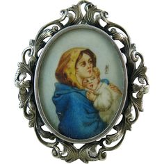 Early 20th Century 800 Silver Picture Pendant / Brooch With Madonna And Child Watercolor