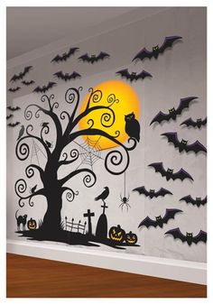 Indoor Wall Decorating Kit with Bats, Tree, Owl, Jack-o-Lanterns, graves, moon, crows, mice and spiders #halloween #decor