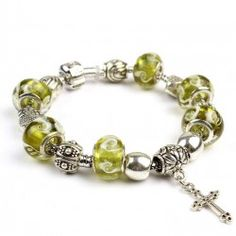 Unique Green Glass Bands Crown Beaded Bracelet With Cross - USD $35.95