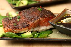 pepper-crusted salmon with wasabi dipping sauce