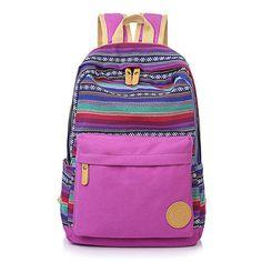Ethnic Print Canvas Travel School Backpack Bag