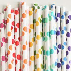 Paper Straws: Rainbow Dots Mix (($))