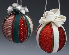 These are gorgeous & must-have ornaments for the tree this year. They're made with fabric, zippers and a ball of Styrofoam brand foam. Tutorial on CraftsnCoffee.com.