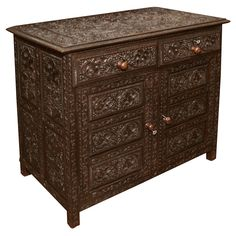 Carved Anglo Indian Chest/End Table, Late 19th Century