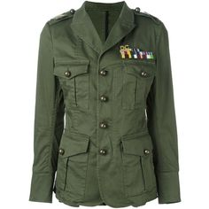 Dsquared2 'Golden Arrow' military jacket ($975) ❤ liked on Polyvore featuring outerwear, jackets, tops, green, green jacket, dsquared2 jacket, dsquared2, green military jackets and army jacket