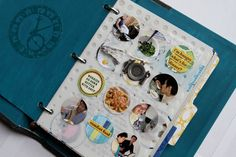 Need to do a page of circle-punched pictures like this in my mini album about our trip to Savannah this summer! Mini Albums, Mini Scrapbook Albums, Scrapbook Journal, Scrapbooking, Scrapbook Paper Crafts, Personal Project Ideas, Homemade Recipe Books, Cool Journals, Art Journals