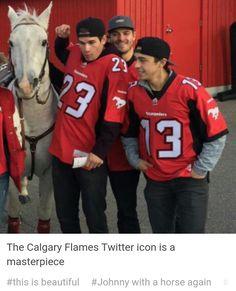 # Johnny with a horse again Hot Hockey Players, Ice Hockey Teams, Hockey Baby, Nhl Players, Flames Hockey, Funny Hockey, Johnny Gaudreau, Hockey Cards, Calgary