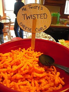 Twisty's Cheese Curls <-- For a VeggieTales party! First Birthday Favors, 3rd Birthday Parties, Birthday Bash, Birthday Ideas, Birthday Celebrations, Happy Birthday, Veggie Tales Birthday, Veggie Tales Party, Veggietales