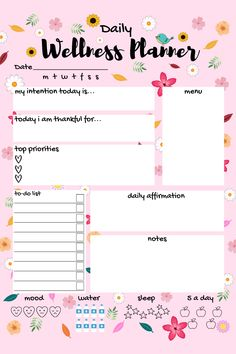 Plan your days like a boss with this awesome daily wellness planner! Bullet Journal Ideas Pages, Bullet Journal Inspiration, Daily Goals, Study Planner, Planning Your Day, Mood Tracker, Student Studying, Daily Affirmations, Cartoon Wallpaper