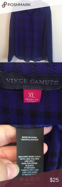 Vince Camuto button down blouse Sheer black and almost a deep indigo plaid button down long sleeve blouse. The fabric feels wonderfully light and refreshing!  This has been worn but wonderfully taken care of. Vince Camuto Tops Button Down Shirts