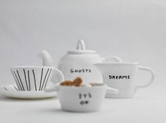 Some of the ceramic tableware by David Shrigley for Sketch London