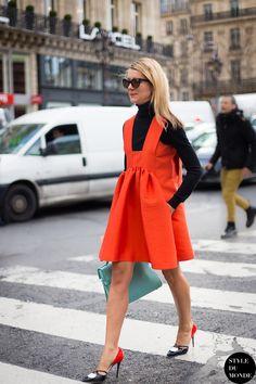 orange dress with turtleneck sweater