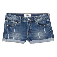 Mango Medium denim shorts ($15) ❤ liked on Polyvore featuring shorts, bottoms, pants, short, blue, sale, ripped short shorts, ripped denim shorts, denim short shorts and ripped shorts