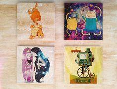 "Stone or Ceramic Adventure Time ""Dream Time"" Coaster set - Vintage Retro Cartoon Finn and Jake Bmo Marceline Flame Princess Bubble Gum"