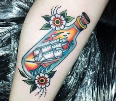 Ship in Bottle tattoo by Sam Ricketts Traditional Nautical Tattoo, Traditional Ship Tattoo, Traditional Tattoo Old School, Cover Up Tattoos, Leg Tattoos, Tattoo Ribs, Ship Tattoos, Arrow Tattoos, Ship In Bottle Tattoo
