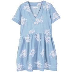 Floral Embroidery Dress found on Polyvore featuring polyvore, women's fashion, clothing, dresses, light blue, short sleeve floral dress, floral embroidered dress, short sleeve cotton dress, short sleeve dress and floral fit-and-flare dresses