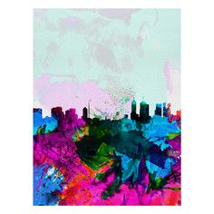 My design inspiration: Melbourne Watercolor Skyline on Fab.