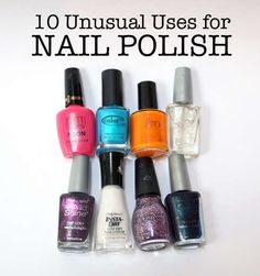 unusual uses for nail polish! get the nail polish free with a coupon! http://thekrazycouponlady.com/2012/09/19/better-than-free-wet-n-wild-nail-polish-at-walmart/