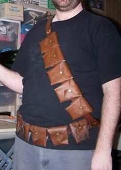 Tuesday Tutorials & Tools: Leather Bandolier Pattern - I've been looking for… Leather Diy Crafts, Leather Projects, Leather Craft, Leather Armor, Leather Pouch, Leather Tooling, Steampunk Crafts, Steampunk Costume, Costume Tutorial