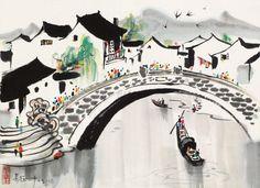 吴冠中绘画作品欣赏_网易艺术 Chinese Boat, Tinta China, Chinese Brush, Chinese Landscape, China Art, Chinese Culture, Japanese Artists, Chinese Painting, Ink Painting