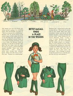 """From the McCalls magazine here's an uncut Betsy McCall paperdoll. This is """"Betsy McCall Finds a Place in the Woods"""" from Sept. Old Betsy McCall Paperdoll Page. Girl Scout Uniform, Girl Scout Troop, Girl Scouts, Vintage Paper Dolls, Vintage Toys, Paper Art, Paper Crafts, Kid Crafts, Photo Vintage"""