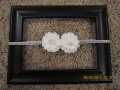 Silver Glitter headband with elegant white flowers.