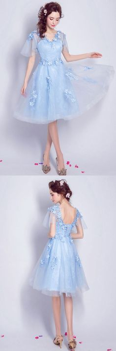 Elegant Blue Knee Length Tulle Homecoming Dress Flowy A-line V-neck With Flowers