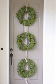 3 large green wreaths with wide ribbon for the front door.