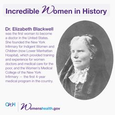 the achievements of dr elizabeth blackwell the first female doctor Women of achievement month - september  they would know as much as a male doctor dr elizabeth blackwell  the first female doctor in the usa and also the.