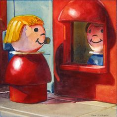 """Chatting At Work"" 5"" x 5"" - watercolor on paper.  Painting by Kara K. Bigda."