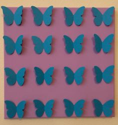 3D Handmade Blue Butterflies on Violet Painted Canvas.Perfect for the nursery,the home, dorm, birthday gift, and any special occasion.12X12....