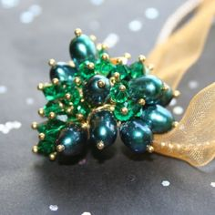 Genuine Cultured FW Emerald Pearl and Crystal 14kt Gold Fill Pendant by Maru Jewelry Designs | whosmaru - Jewelry on ArtFire