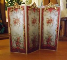 Miniature Reversible REBECCA Dressing screen Room divider in 12th scale on Etsy, $40.04