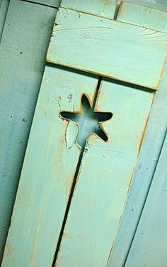 Turquoise Weathered Starfish Cutout Wood Beach House Shutter