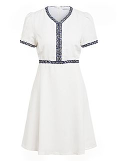 Karen Page, Short Sleeve Dresses, Dresses With Sleeves, Sandro, Dresses For Work, Fashion, Dress Work, Cotton, Gowns